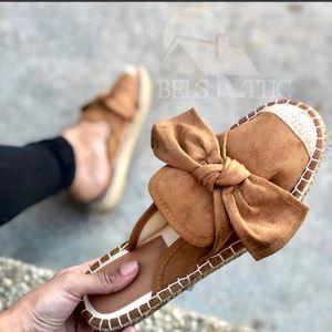 Shoes - Vegan Suede Bow Espadrille Flat Mules